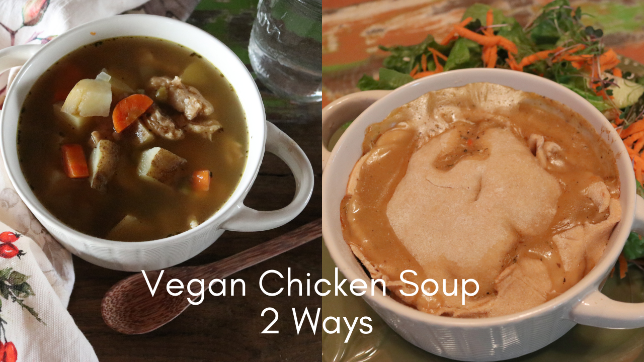 vegan chicken soup made into 2 meals